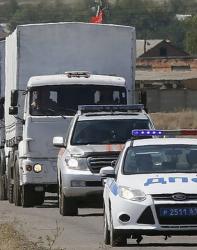 Хуманитарният конвой за Украйна се състоеше от около 270 камиона. Сн.: EPA/БГНЕС