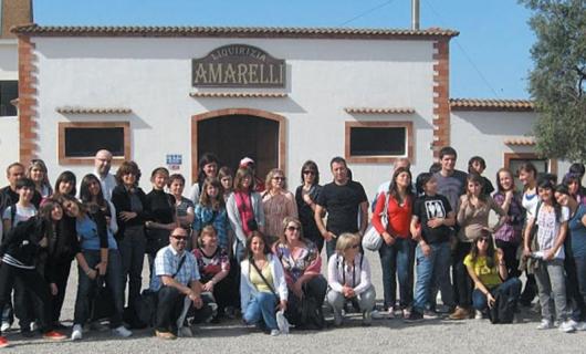 Участниците в проекта пред музея на Ликьора - Амареля