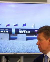 """Президентът на """"Газпром"""" Алексей Милер наблюдава от София първата заварка на """"Южен поток"""", 31 октомври 2013 г. Сн.: БГНЕС"""